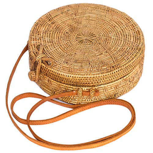 Bali Harvest Round Woven Ata Rattan Bag Linen Inside with Bow Clasp and Flower Pattern (with Genuine Leather Strap)