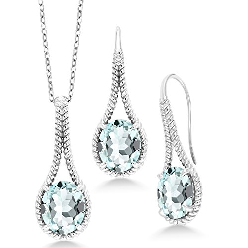 Gem Stone King Sterling Silver Sky Blue Simulated Aquamarine Pendant Earrings Set 11.79 Ct with 18inches Silver Chain