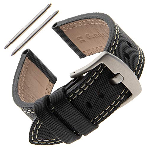 - Gilden Gents 22mm Kevlar-Style Polyurethane and Leather Sport Watch Strap KS01-0922 (22 Millimeter end Width, Black)