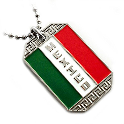 MEXICO FLAG PENDANT BANDERA MEXICANA DOG TAG ARMY BALL CHAIN NECKLACE
