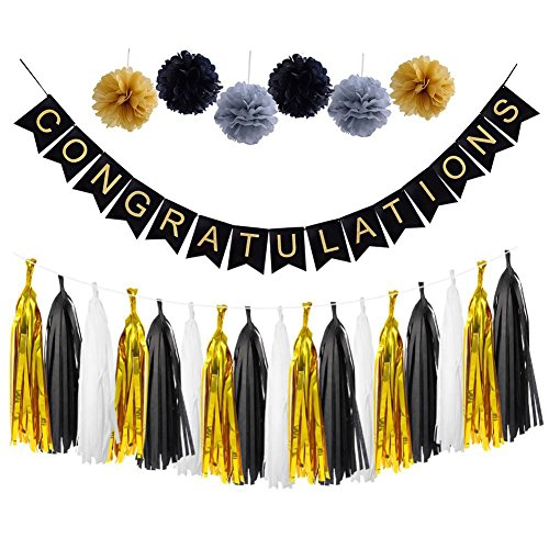LOLOAJOY CONGRATULATIONS Banner Sign For Graduation Party Supplies Decoration Kit With Gold and black Tassel Garland Tissue Paper Pom Poms]()
