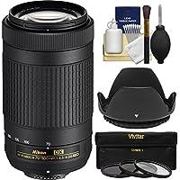 Nikon 70-300mm f/4.5-6.3G DX AF-P ED Zoom-Nikkor Lens with 3 UV/CPL/ND8 Filters + Hood + Kit (Certified Refurbished)