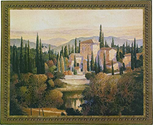 (Song of Tuscany by Max Hayslette | Woven Tapestry Wall Art Hanging | Tuscan Villa Natural Pond Scene on European Countryside | 100% Cotton USA Size 53x44 )