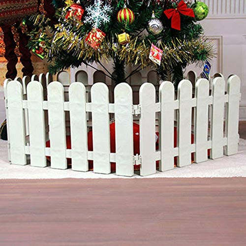 CHICIEVE 4 pcs White Plastic Fence Christmas Xmas Tree Wedding Party Decoration Miniature Indoor Garden Border Grass Lawn Edge Fence (One Pack is 200cm in Total)
