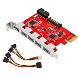 MoKo PCI-E 5-Ports USB 3.0 Expansion Card Adapter, PCI-Express Card with 5 External Port, 1 Internal 19-pin Header, 15-Pin SATA Power Connector, Compatible for Windows XP/Vista/7/8/10 - Red & Silver