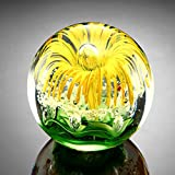 """Yellow Flower Paperweight Glass Sphere 3.5"""""""