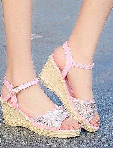 LFNLYX Zapatos de mujer-Tacón Cuña-Punta Abierta-Sandalias-Vestido-Semicuero-Negro / Rosa / Plata Pink