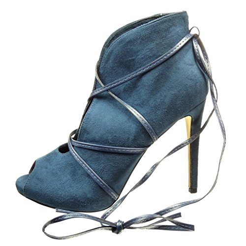 10 Tacón Mujer Botines Alto Tanga Moda Abierto Aguja Cm Zapatillas De Talón Angkorly Azul Sexy qpXxwg7na8