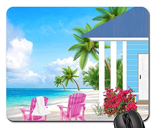 Sea Cottage (Mouse Pad - Small House Seaside Sea Sandy Beach Cottage)