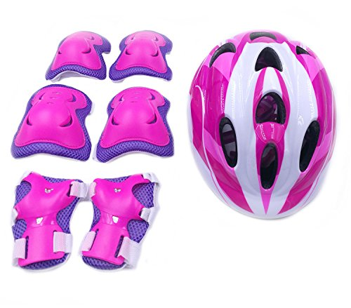 7Pcs Kids Youth Adjustable Helmet Cycling Roller Skateboard Elbow Knee Pads Wrist Safety Protective Guard Gear Set for Children aged 5-12 years old (Pink)