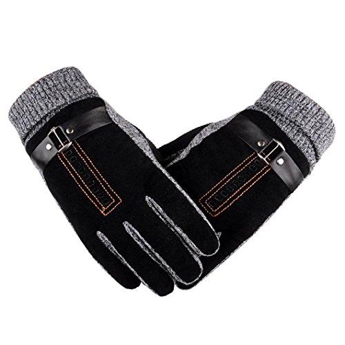 Bolayu Men Anti Slip Warm Gloves Motorcycle Ski Snow Snowboard (Black)