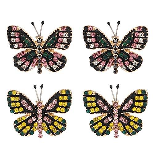 Butterfly Earring Stud Set (Sparkling Yellow Emerald Crystal Vintage Trendy Fruit Pineapple Earrings Stud Jewelry Sets For Women Girls (circles pineapple Earring))