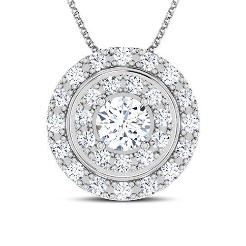 18K Or Blanc 1.1CT TW Round-cut-diamond (IJ | SI) Pendentif