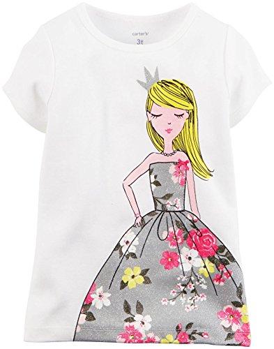 Carter's Little Girls' Graphic Tee (Toddler/Kid) - Floral Dress Girl - 5T (Kids Dress Shirt 5t)