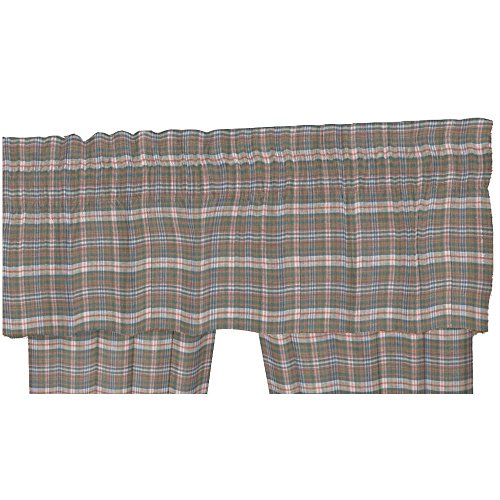 (Patch Magic Blue Grey Plaid Fabric Curtain Valance, 54-Inch by 16-Inch)