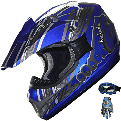 ATV Motocross Off Road Helmet Combo A28 Blue+gloves+goggles (XL)