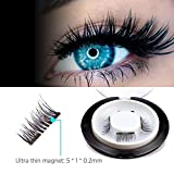 New Double Magnetic False Eyelashes - Ultra Thin 3D Fiber Reusable Best Fake Lashes Extension for Natural, Perfect for Deep Set Eyes & Round Eyes 1 Pairs (4 Pieces)