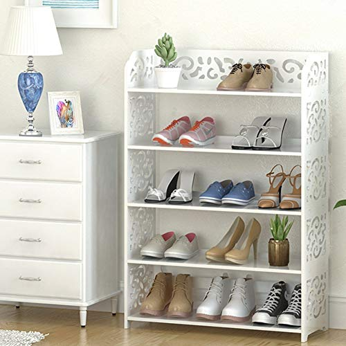 5 Tier Shoes Rack, White Stylish Durable Wood Plastic Space-Saving Shoe Tower, Free Standing Shoes Storage Organizer Closet Shelf Holder Container, Display Stand for Home Office, Support Hold 15 Pair ()