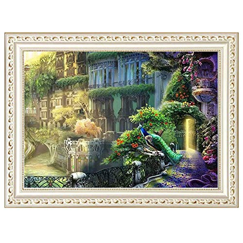 Jieou 5D DIY Diamond Painting Fairy Tale World Beautiful Lady Print Embroidery Kits Cross Stitch Rhinestone Pasted Wall Decor Home Decor Bedroom Living Room TV Backdrop (A, 40x30cm)