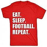 8TN eat sleep football repeat Unisex-children T Shirt - Red - S (7-8 Years)