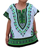 Raan Pah Muang RaanPahMuang Unisex Bright African White Children Dashiki Cotton Shirt, 8-10 Years, Green On White