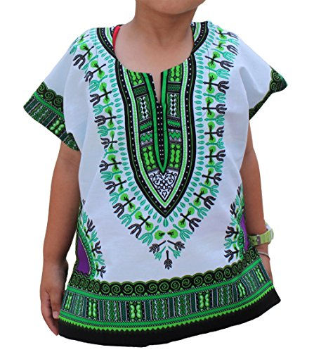 Raan Pah Muang RaanPahMuang Unisex Bright African White Children Dashiki Cotton Shirt, 8-10 Years, Green On White by Raan Pah Muang