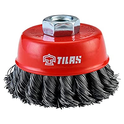 TILAX Wire Cup Brush, Knotted Cup Brush for Grinders, 5/8 Inch-11 Threaded Arbor, 0.020 Inch x 3 Inch, Suitable for Heavy Cleaning Rust, Stripping and Abrasive, for Angle Grinder