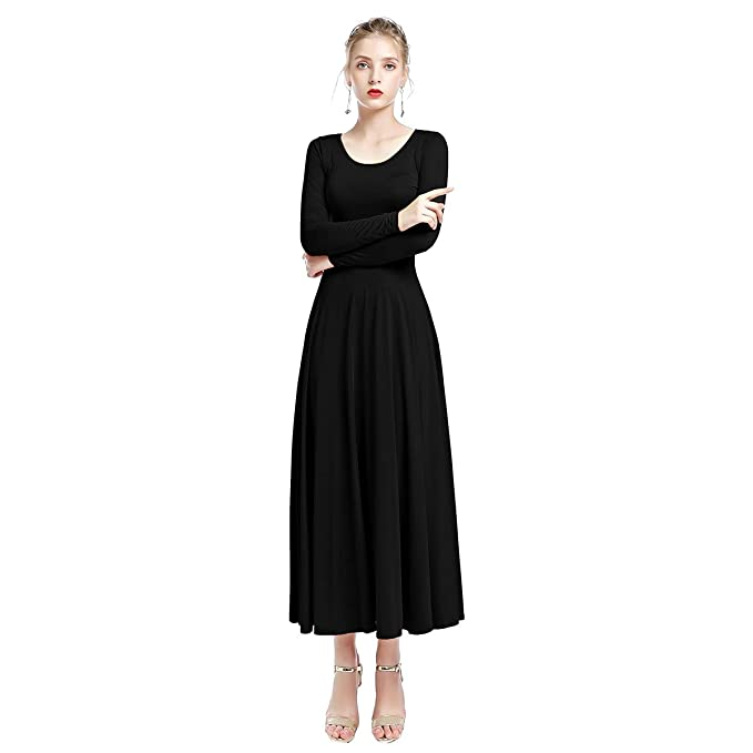 3c2a837359ba5 Praise Dance Dresses for Women Adult Solid Long Sleeve Loose Fit Liturgical  Full Length Dress Ruffle