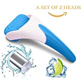 Face Massager Ice Rollers, Set of 2 heads for Face,Eyes Relieving Swelling,Fatigue,Instant Pain Relief, Prevent Winkles & Flabbiness - Reusable, Portable, Necessary Skin Care Tool (2 heads, 1 handle)