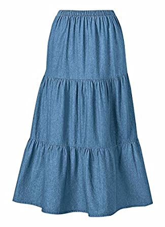 100% Cotton Denim Skirt at Amazon Women's Clothing store: