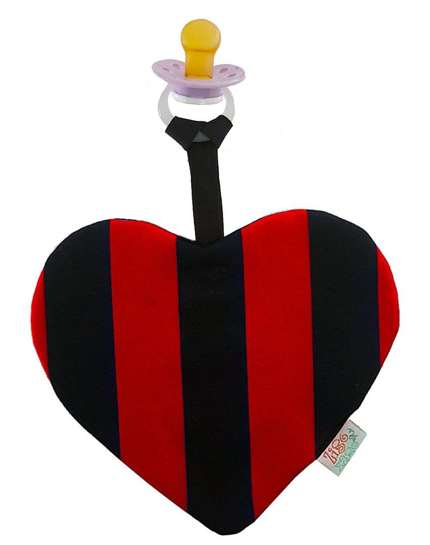 Zigozago Doudou Dudu en forme de c/œur /à rayures rouges et noires avec porte-t/étine