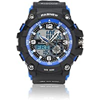 Teenagers Sport Watch | Multifunctional Wrist Clock | Analog Quartz & Digital Display | Dual Time Zone | Water Resistant | EL Backlight | Stopwatch | 3 Alarms | Chime | PU Strap for Boys Girls BLUE