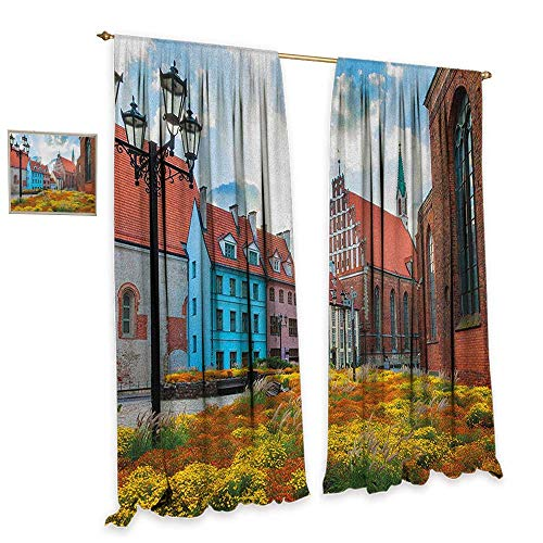 (homefeel Victorian Room Darkening Wide Curtains Old City Riga Latvia Capital with Historical Buildings Medieval Town Image Print Decorative Curtains for Living Room W72 x L84 Multicolor)