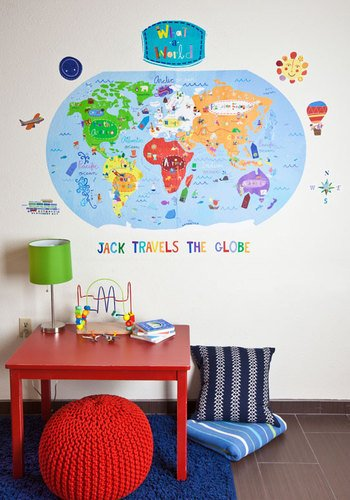 Oopsy daisy What A World Peel and Place Childrens Wall Decals by Jill McDonald, 54 by 60-Inch