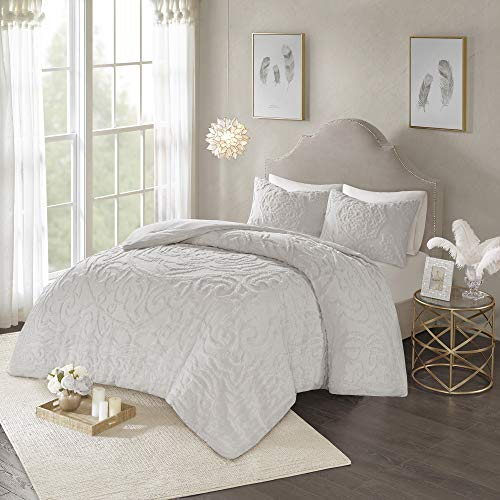Madison Park Laetitia Comforter Reversible Cotton Chenille Flower Floral Botanical Medallion Tufted Fringe Soft Overfilled Down Alternative Hypoallergenic All Season Bedding-Set, King, Grey
