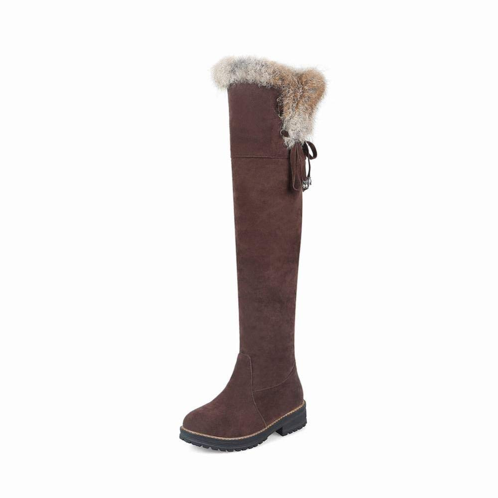XQY Damen Stiefel - Herbst Und Winter Warme Damen Stiefel Flache Niedrige Ferse Stiefel   36-43