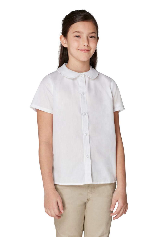 French Toast Girls' Toddler Short Sleeve Modern Peter Pan Collar Blouse, White, 4T