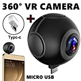 ONMet VR Camera 2K 3D Sport Camera 360 x 2 Lens Video Recorder DV Dual Fisheye Lens Phone Accessories Panoramic View USB Type C Port for Android Phone (Black)