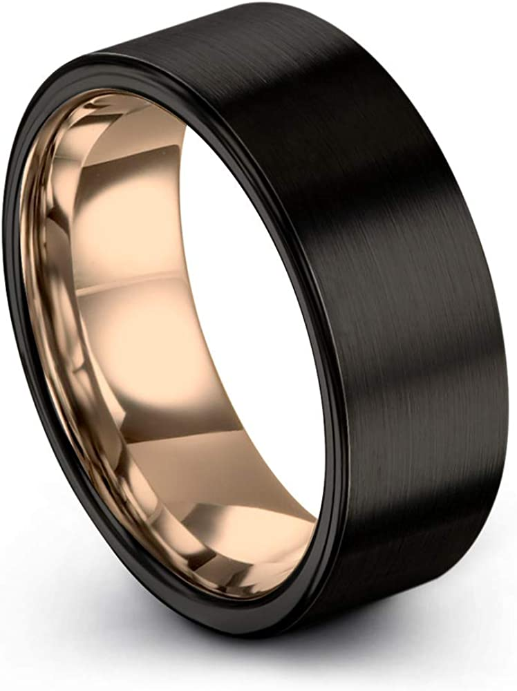 Midnight Rose Collection Tungsten Wedding Band Ring 9mm for Men Women 18k Rose Yellow Gold Plated Flat Cut Black Brushed Polished