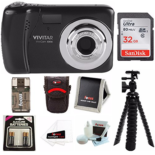 Vivitar ViviCam VXX14 Selfie Digital Camera with 32GB Card Bundle Kit - Black by Vivitar