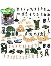 deAO 100-delars Militärlekset med Leksakssoldater; Militärfigurer; Stridsvagnar; Flygplan; Flaggor; Bärväska och Slagfältstillbehör