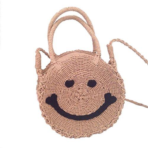 Bolsa Circular Oshide Paja Playa Smile Bordado aller Face Tout nbsp; Trenzado De T6qdxnFwUq