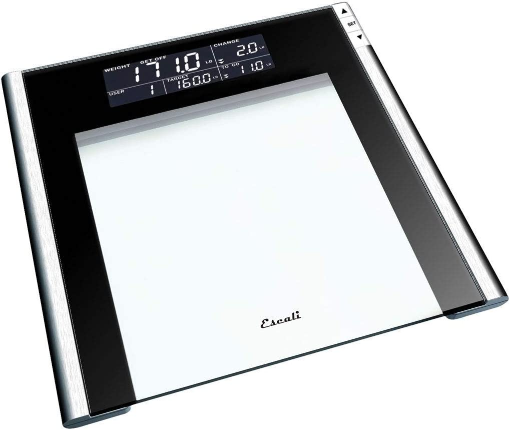 Escali USTT200 Track and Target Bathroom Body Scale, 4 User Profiles, LCD Digital Display, 440lb Capacity, Clear/Black