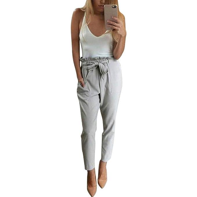141096fa70 PAOLIAN Pantalones Pinzas para Mujer Verano 2018 Casual Pantalones de Vestir  Sólido Fiesta con Pretina y Bolsillo Algodón Cintura Alta Negro Pantalones  de ...