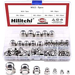 Hilitchi 140-Pcs M3 M4 M5 M6 M8 M10 M12 ...