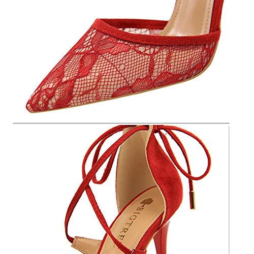 Sandalen Schuhe Spitz Stiletto Heel Court Spitze Nah Band Sexy Damen High Bar Pump Mesh Kreuz Toe Party Hochzeit wUpxzCq