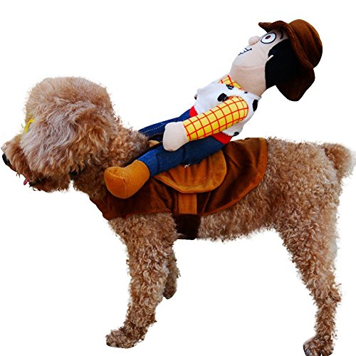 [LETSQK Funny Pet Dog Riders Cowboy Wear Style Knight Harness Costume Apparel Clothing with Hat S] (Dog Cowboy Costume)