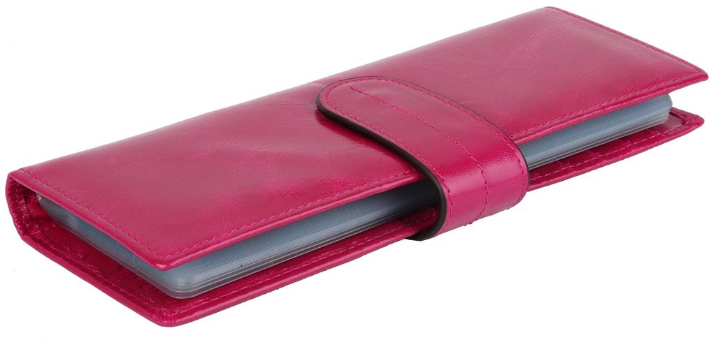 YALUXE 67 Card Slots Soft Cowhide Waxed Leather Card Case Wallet Long Rose Pink