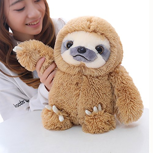 Winsterch Sloth Stuffed Animal Plush Sloth Bear Toys Gift Baby Doll ,Brown Sloth Toy 15.7