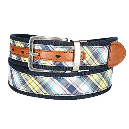 Cotton Plaid Belt - Nautica Men's Fabric Reversible Madras Belt, 34, Madras / Navy
